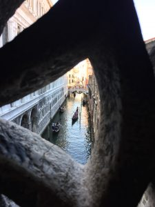 The view from inside of the Bridge of Sighs, to the north.