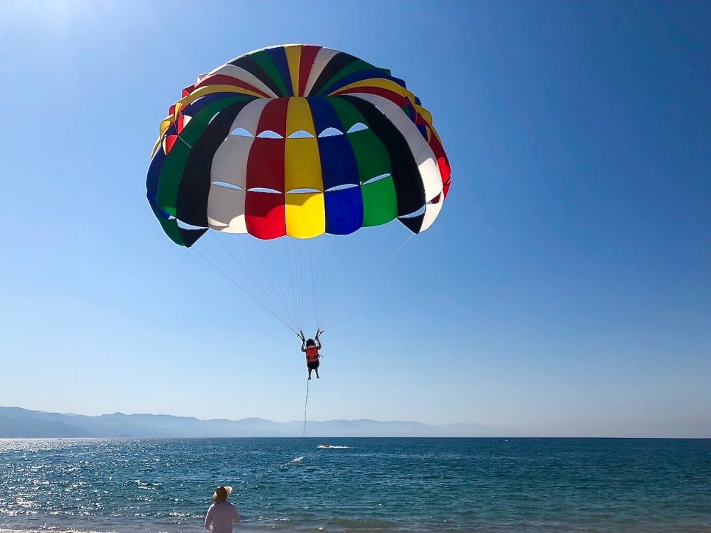 I was a little scared and a lot excited about my first parasailing in Puerto Vallarta - Passports and Spice