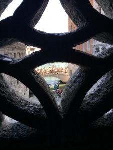 The view from inside of the Bridge of Sighs, to the south.