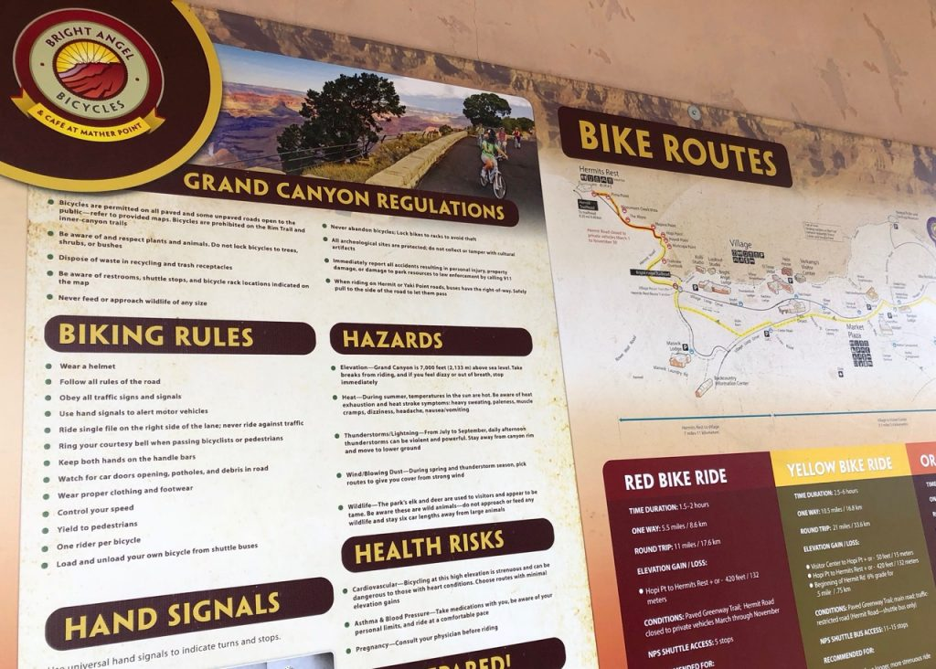 Bike Routes at the Grand Canyon South Rim - Passports and Spice