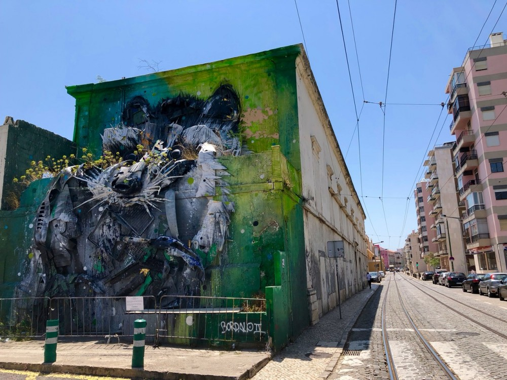One of Bordalo II's Trash Animals in Lisbon - Passports and Spice
