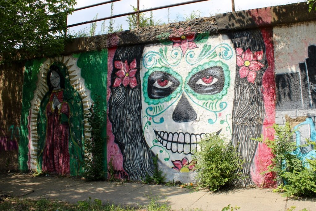 La Calavera is one of awesome instagrammable walls in Chicago - Passports and Spice