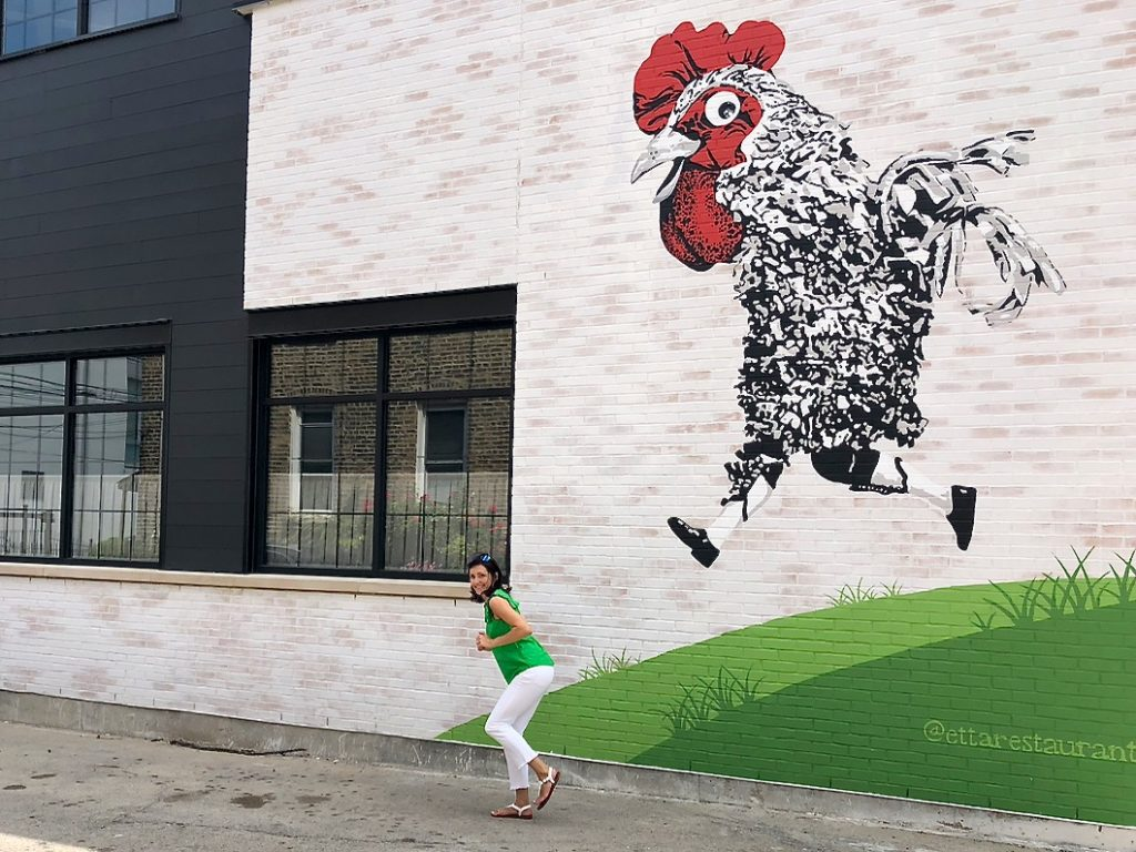 Running Chicken is one of awesome instagrammable walls in Chicago - Passports and Spice