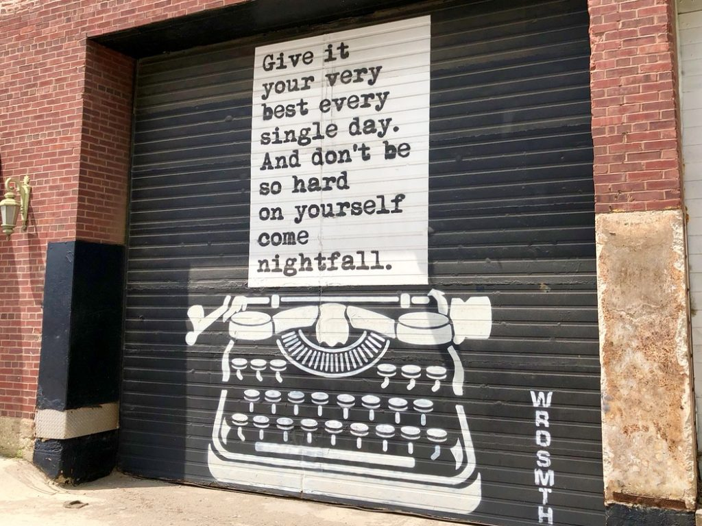 Typewriter Words of Wisdom is one of awesome instagrammable walls in Chicago - Passports and Spice